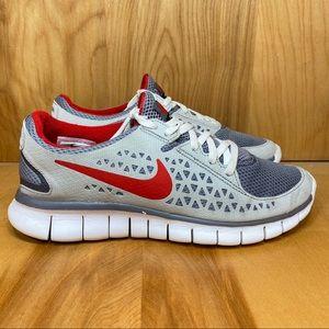 Nike Free Run Gray Red Size 7.5